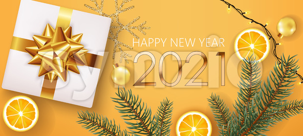 New year composition of golden numbers with white gift box, pine twigs, slices of lemon, christmas balls, festive lights and silver snowflake in Stock Vector