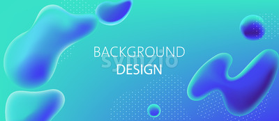 Abstract background design of water blobs and white dots pattern. Realistic 3D mockup product placement. Vector Stock Vector