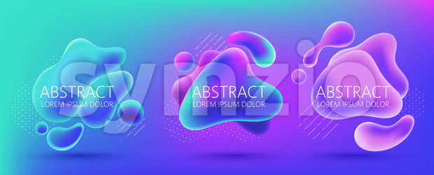 Set of three abstract background design of water blobs, white dots and lines pattern. Place for text. Realistic 3D mockup product placement. Vector Stock Vector