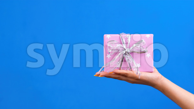 Female hand holds a gift box on blue background. Holiday concept. Front view Stock Photo