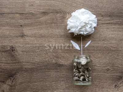 A glass can with metal coins and a flower growing up in it. Wooden background. Top view Stock Photo