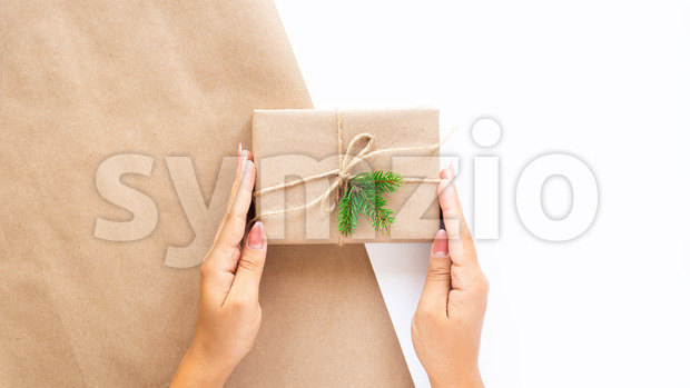 Female hand holds a gift box with a Christmas tree branch on two-color background. Holiday concept. Front view Stock Photo