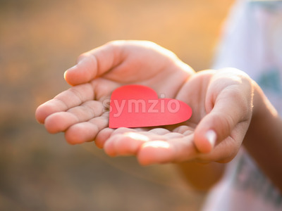 Male hands holding a red heart. Love concept Stock Photo