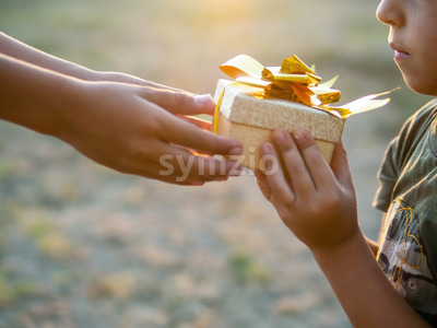 A boy is giving a kid a gift box with golden tape, setting sun. Holiday concept Stock Photo