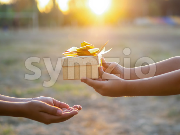 A kid is giving a boy a gift box with golden tape, setting sun. Holiday concept Stock Photo