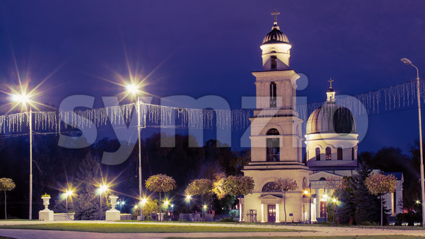 Central Nativity Cathedral in Chisinau at night, Moldova Stock Photo