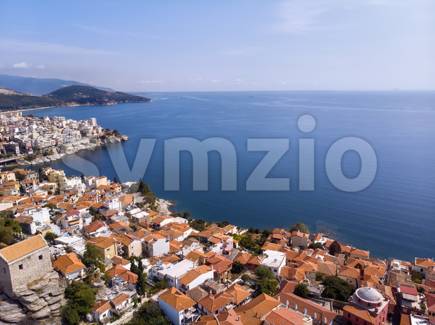 Castle and city of Kavala by the sea in Greece Stock Photo