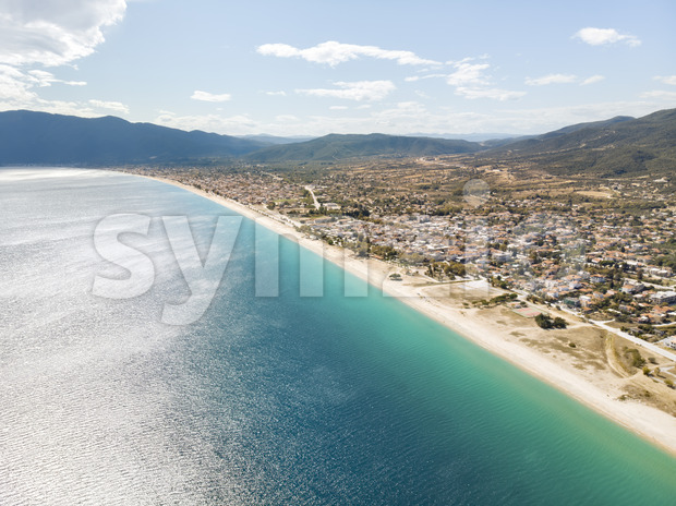 Drone view of sea in Asprovalta village, Greece Stock Photo