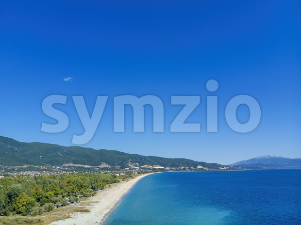 Drone view of sea in Asprovalta village, Greece