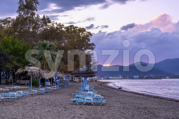 Dark purple sky and clouds after the storm in Stavros, Greece Stock Photo