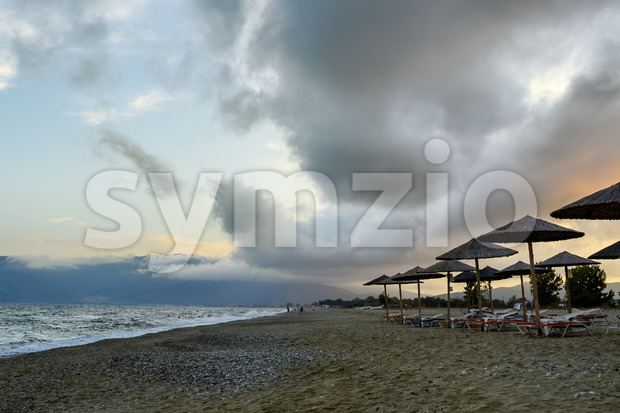 Dark purple sky and clouds after the storm in Asprovalta, Greece Stock Photo