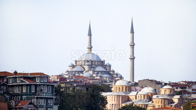 Gazi Atik Ali Pasha Mosque in Istanbul at cloudy weather with residential buildings around, Turkey Stock Photo
