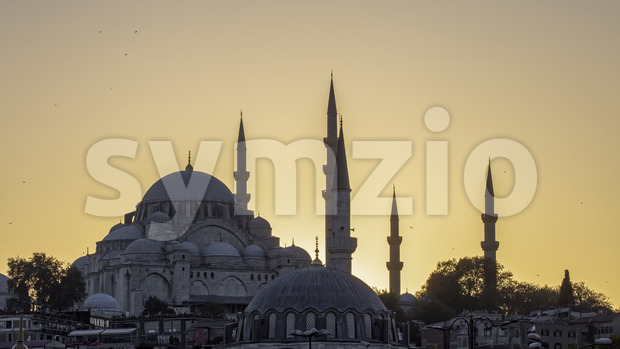 A mosque with towers at sunset in Istanbul, Turkey