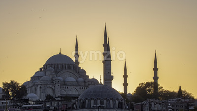 A mosque with towers at sunset in Istanbul, Turkey Stock Photo