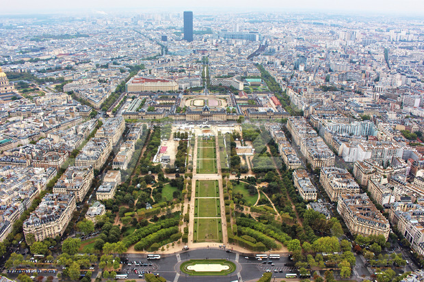 Panoramic view on paris city, Field of Mars, from the top of eiffel tower, france Stock Photo