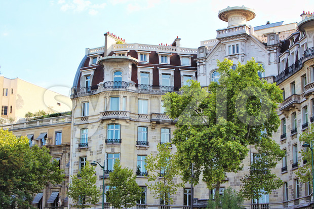 View on buildings along seine river, blue sky with white clouds, paris city, france Stock Photo