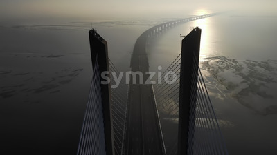 VIDEO - Aerial drone view of Vasco da Gama bridge in Lisbon, Portugal, stock video Stock Video