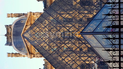 VIDEO - Louvre museum art galleries, square and buildings, stock video Stock Video