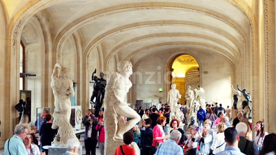 VIDEO - PARIS, FRANCE - OCTOBER 04, 2018: Visitors at Louvre museum art galleries, square and buildings, stock video Stock Video