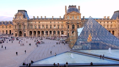 VIDEO - Visitors at Louvre museum art galleries, square and buildings, stock video Stock Video