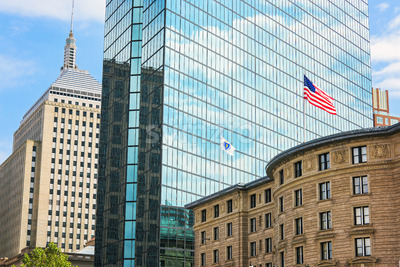 Architecture buildins in city of Boston downtown and national flag, United States of america Stock Photo