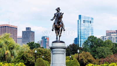 Modern buildings and flowers in park in Boston city, United States of America Stock Photo