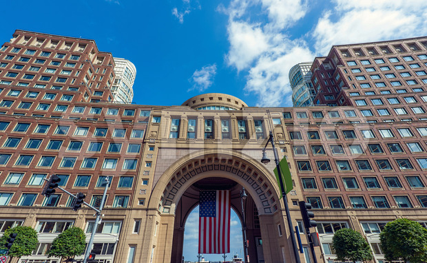 Tall buildings of Boston city downtown, USA Stock Photo