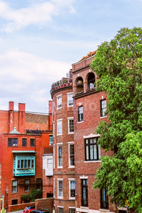 Red brick buildins in city of Boston downtown, United States of America Stock Photo