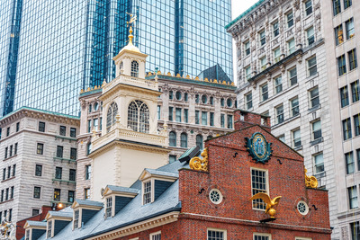 Architecture buildins in city of Boston downtown, United States of America Stock Photo