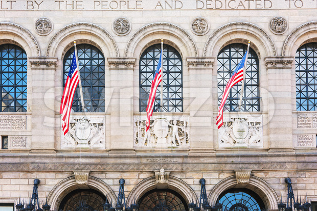 National flags on building of Boston city Public Library, USA Stock Photo