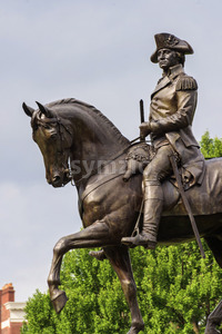 Statue of Washington in park of Boston, USA Stock Photo