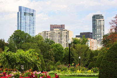 Modern buildings and park in Boston city, United States of America Stock Photo