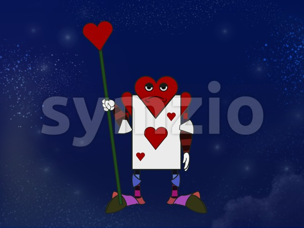 Jack of Hearts Card Fairy Tale Magical Character. Kids book digital background raster illustration. Stock Photo