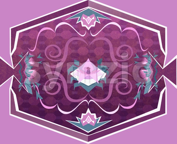 Floral Carpet with Flowers and Geometrical Objects. Digital background raster illustration. Stock Photo