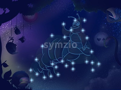 Fairy tale astronomy. Kids book digital background raster illustration. Caterpillar constellation. Stock Photo