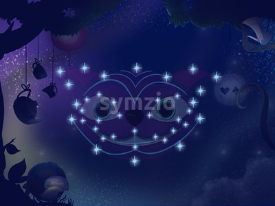 Fairy tale astronomy. Kids book digital background raster illustration. Cheshire cat constellation. Stock Photo