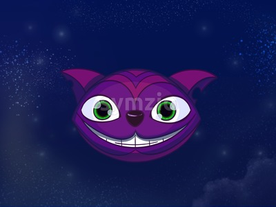Cheshire cat big smiley purple face. Kids book digital background raster illustration. Stock Photo