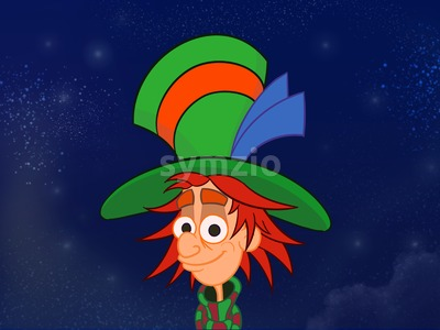 Hatter in big colorful hat. Kids book digital background raster illustration. Stock Photo