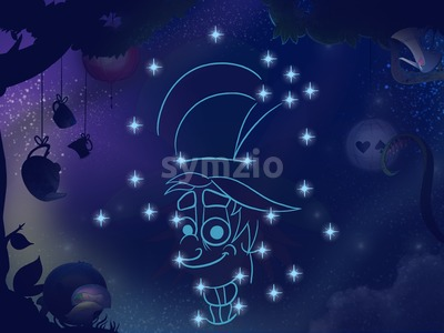 Fairy tale astronomy. Kids book digital background raster illustration. Hipster constellation. Stock Photo