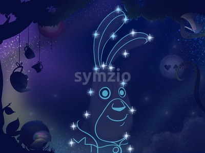 Fairy tale astronomy. Kids book digital background raster illustration. Rabbit constellation. Stock Photo