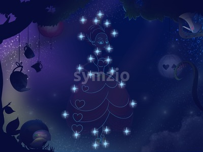 Fairy tale astronomy. Kids book digital background raster illustration. Pretty girl constellation. Stock Photo