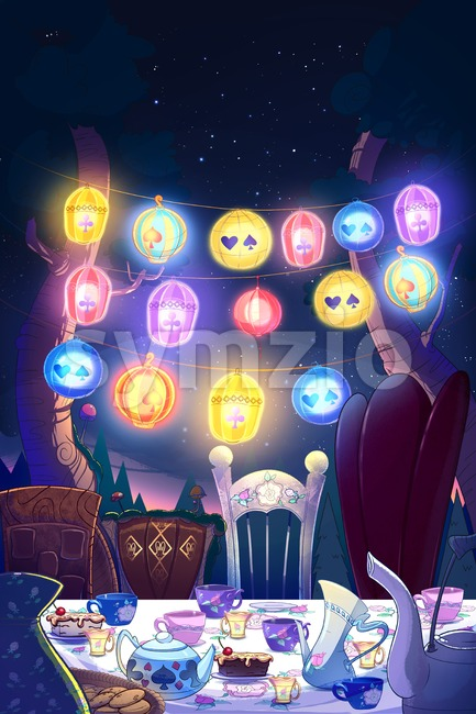 Tea party outdoors. Birthday party with cake. Digital background raster illustration. Stock Photo