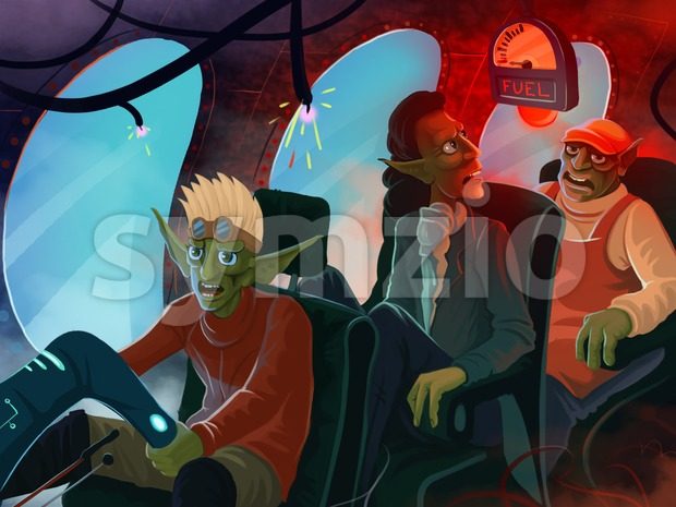 Airplane crash. Panic among the passengers and pilot. Digital background raster illustration. Stock Photo