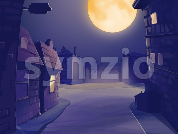 Village view at midnight with full moon in the sky. Empty street with houses. Digital background raster illustration. Stock Photo