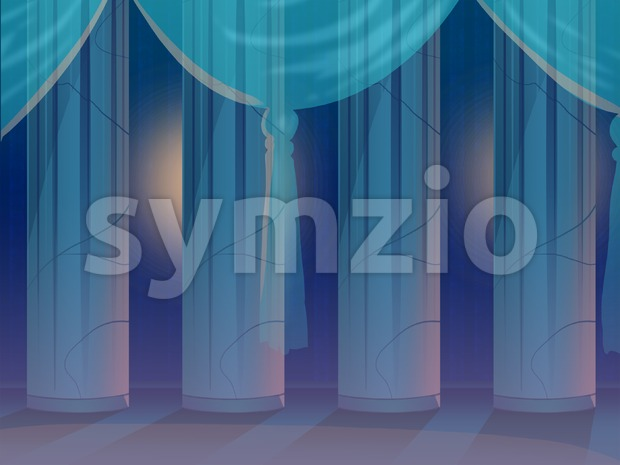 Four Columns Behind a Curtain in an Empty Hall. Digital background raster illustration.