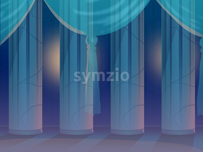 Four Columns Behind a Curtain in an Empty Hall. Digital background raster illustration. Stock Photo