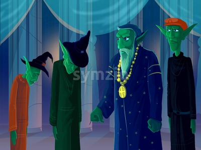 Four green elves or goblins standing in a hall with columns. Digital background raster illustration. Stock Photo