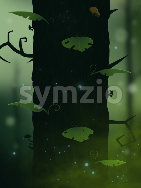 Gigantic fairy tale magic tree growing in a forest. Blurred backdrop. Digital background raster illustration. Stock Photo
