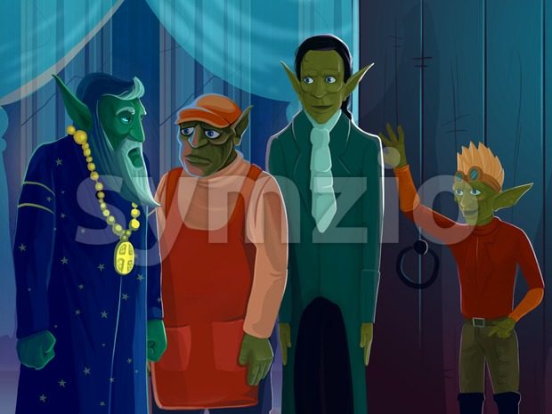 Four green elves or goblins standing in a hall with columns. Digital background raster illustration.