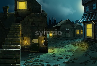 Midnight village street with old brick houses. Digital background raster illustration. Stock Photo